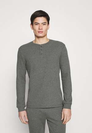 LOUNGE HENLEY TOP - Pyžamový top - mottled dark grey