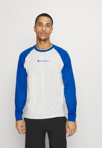 Champion - LEGACY CREWNECK LONG SLEEVE - Long sleeved top - off white/blue - 0