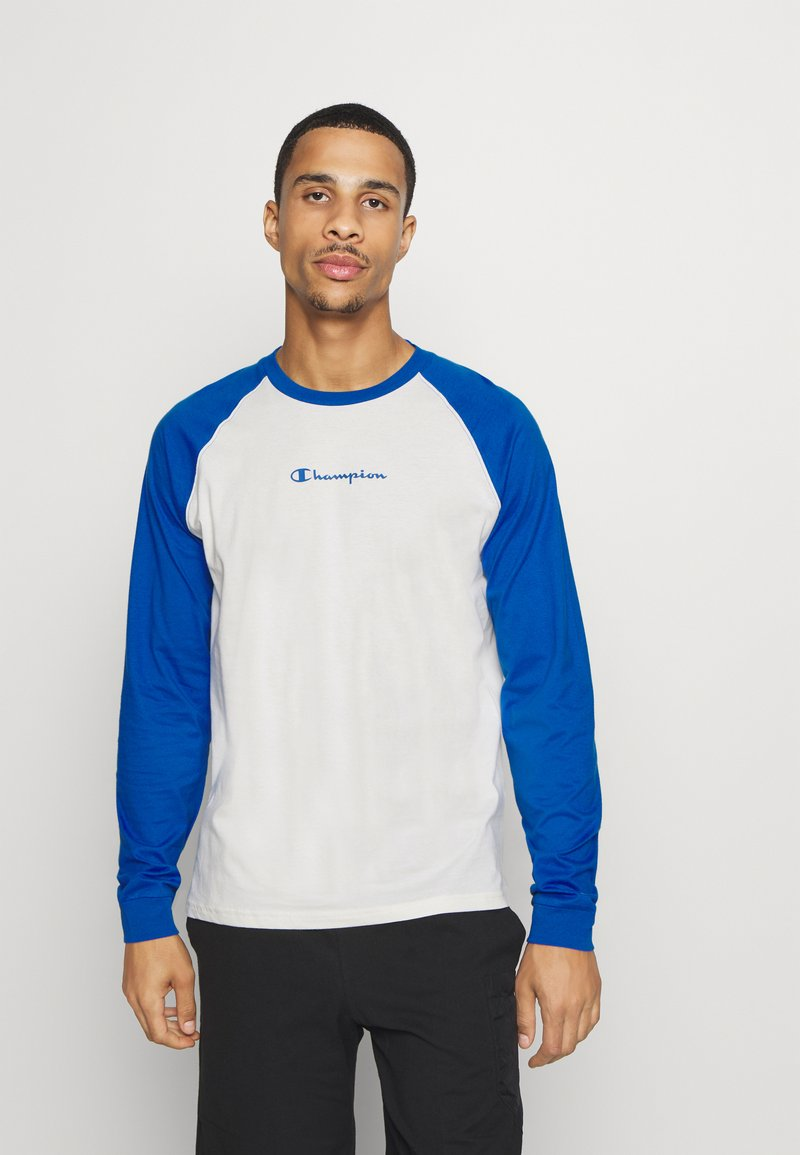 Champion - LEGACY CREWNECK LONG SLEEVE - Long sleeved top - off white/blue