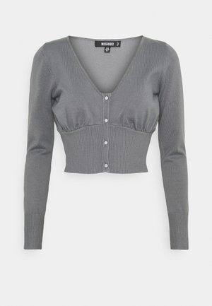 RUCHED BUST BUTTON DETAIL - Cardigan - grey