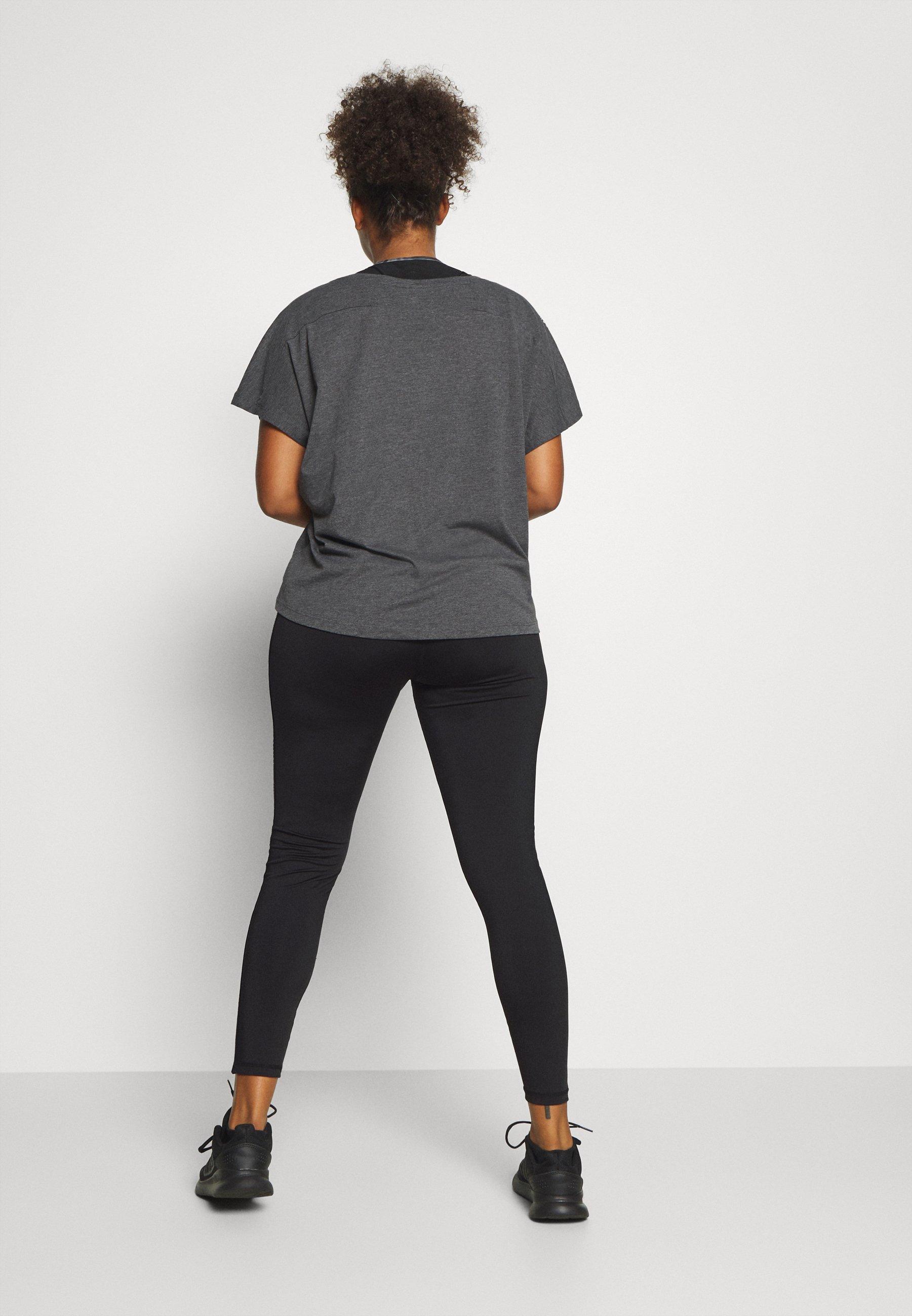 ONLY Play ONPADREY TRAINING CURVY - Leggings - black/white 3pmZt