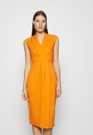 WRAP PENCIL DRESS - Shift dress - rust
