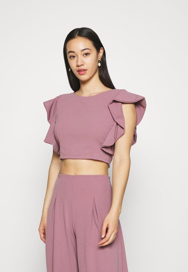 OLLI FRILL SLEEVE CROP  - Print T-shirt - mauve pink