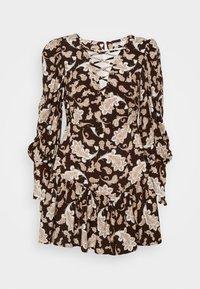 Glamorous Petite - RUFFLE MINI DRESSES WITH PUFF LONG SLEEVES - Hverdagskjoler - dark brown - 0