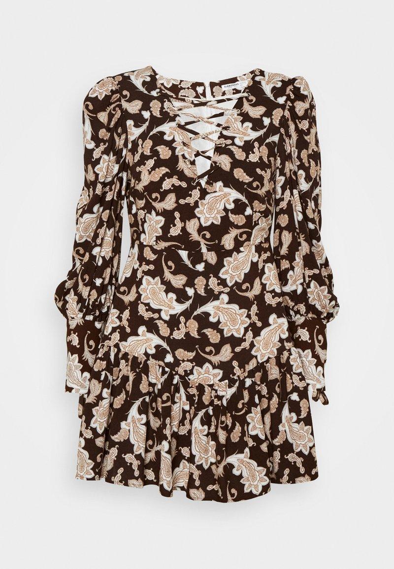 Glamorous Petite - RUFFLE MINI DRESSES WITH PUFF LONG SLEEVES - Hverdagskjoler - dark brown