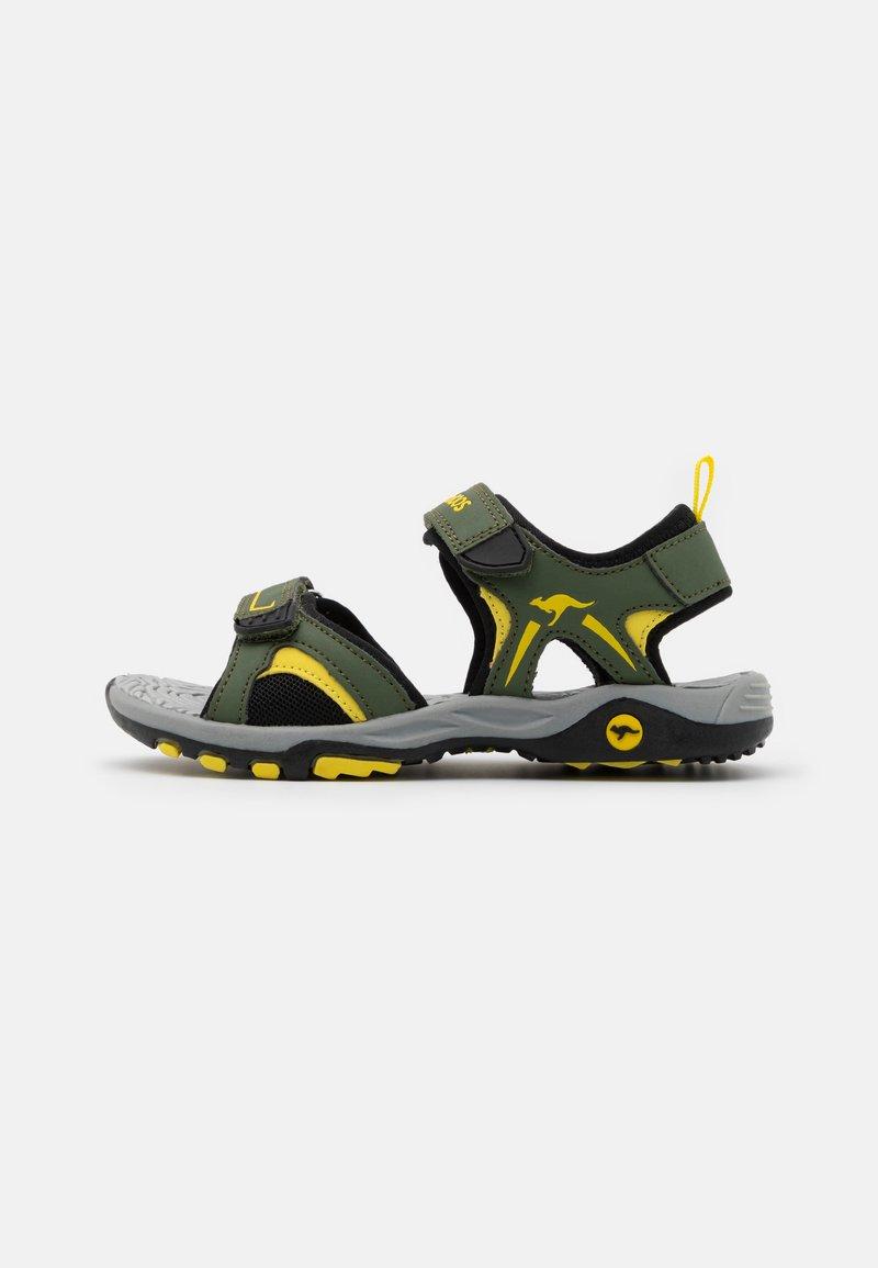 KangaROOS - K-MONT - Chodecké sandály - olive/sun yellow