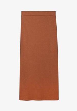 GESTRICKTER - Plisovaná sukně - brown