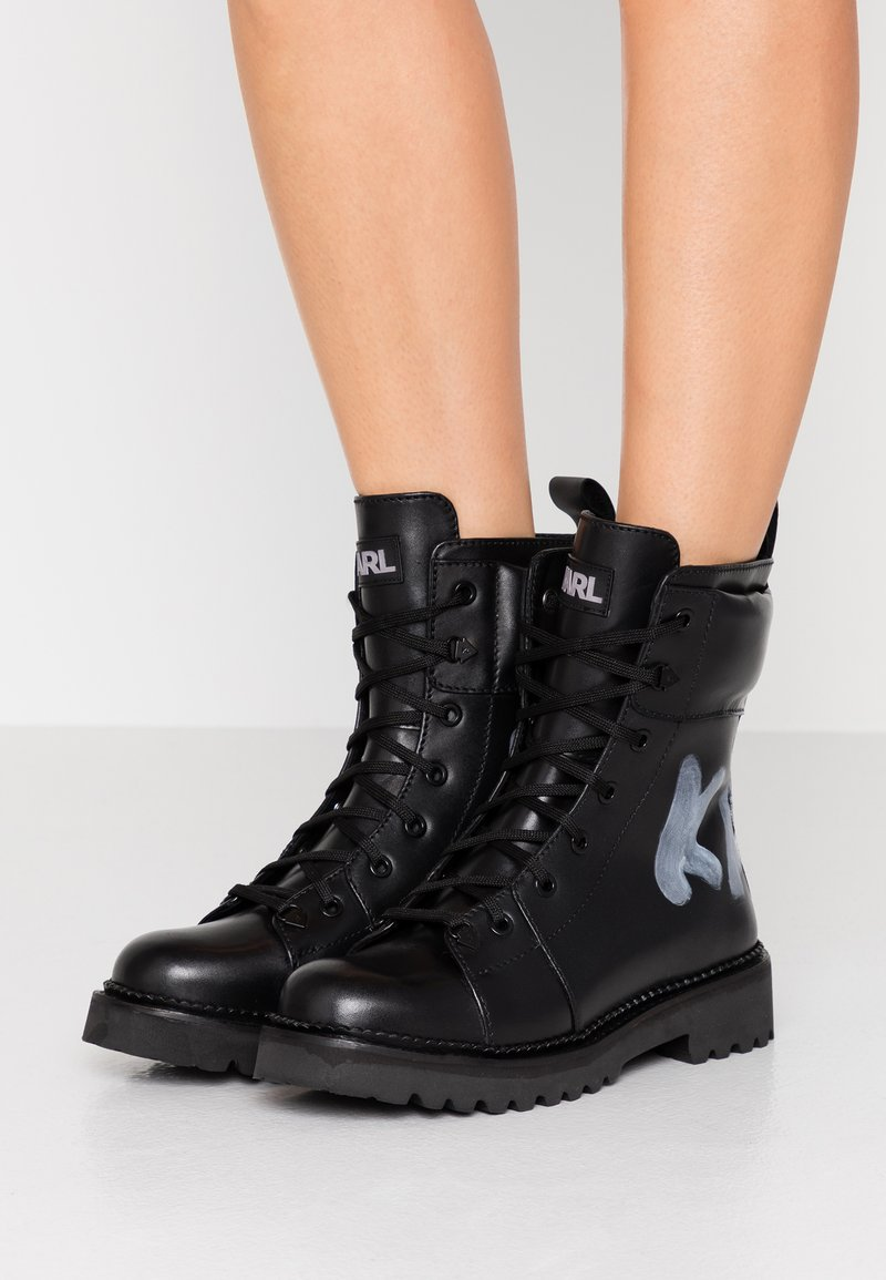 KARL LAGERFELD - KADET HI LACE BOOT - Lace-up ankle boots - black
