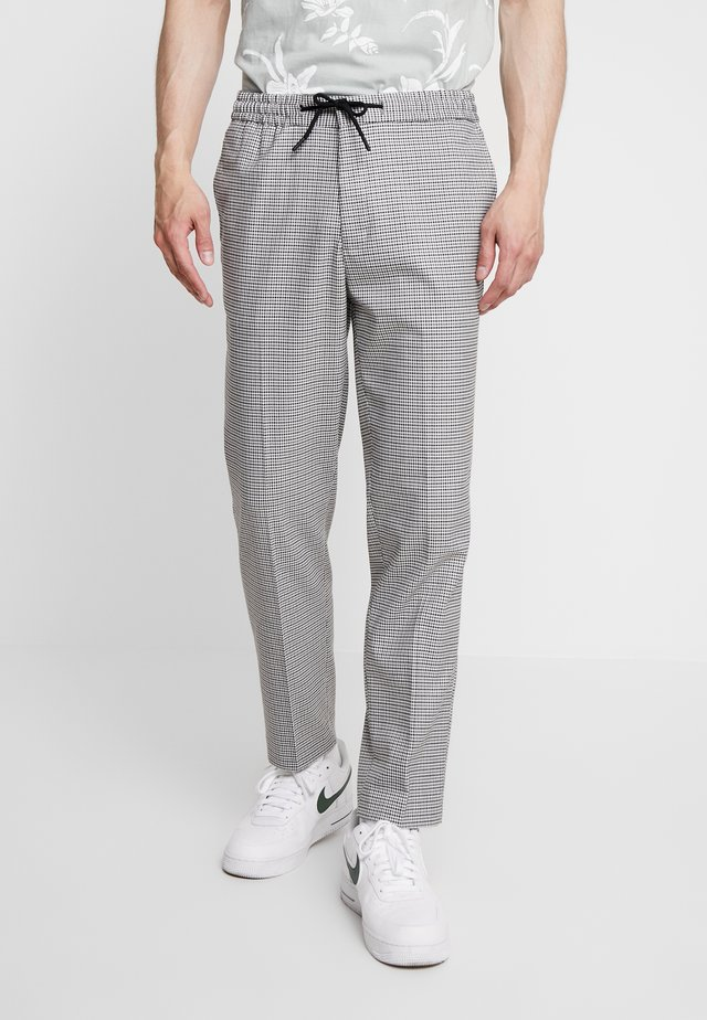 DIERDRICK DRAWSTRING MINI CHECK - Trousers - grey
