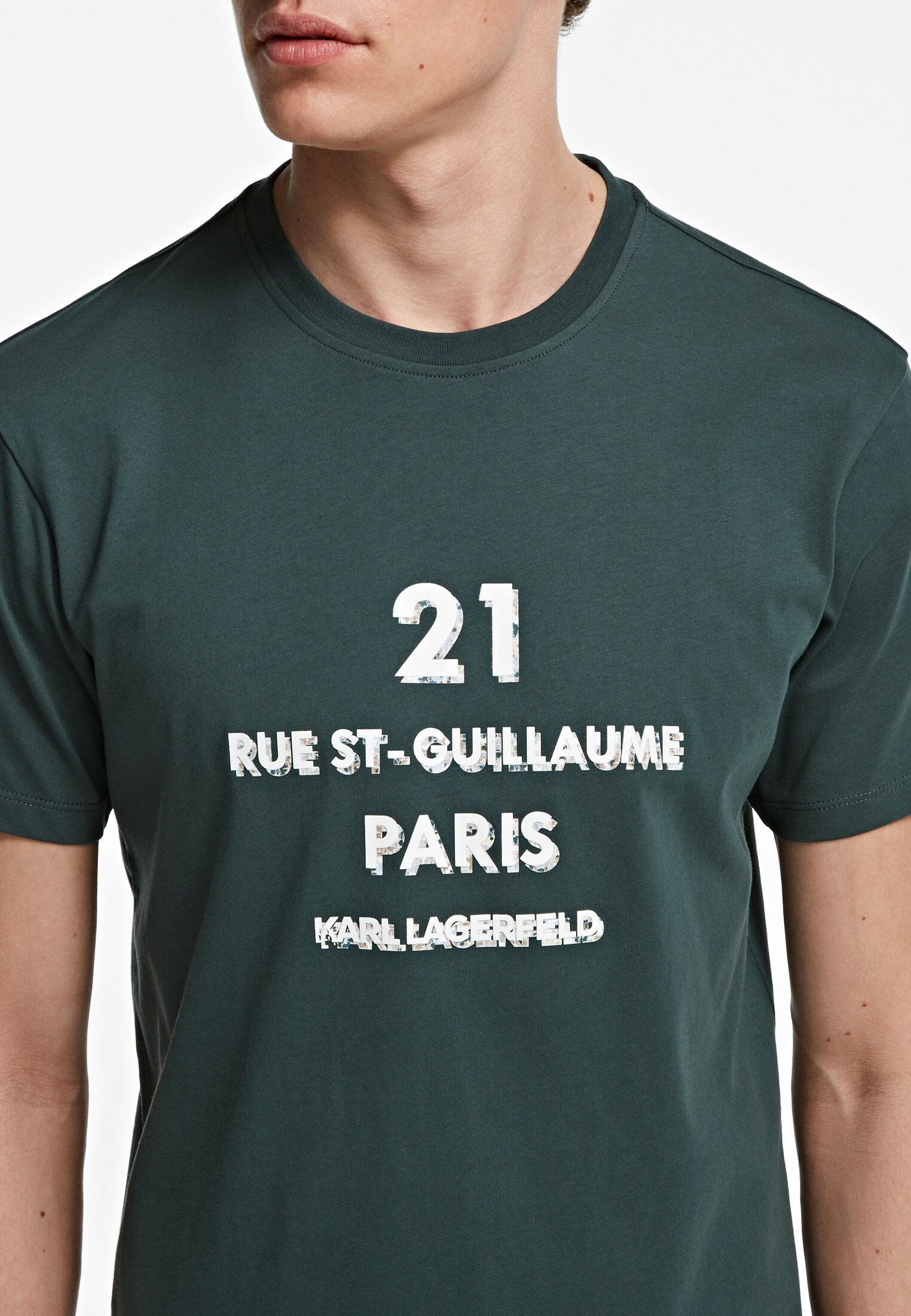 KARL LAGERFELD ADDRESS LOGO  - T-Shirt print - green gable/dunkelgrün - Herrenbekleidung 4AqtP