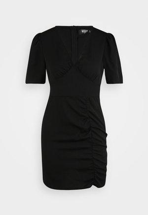 DALMATIAN RUCHED SIDE V TEA DRESS - Sukienka letnia - black