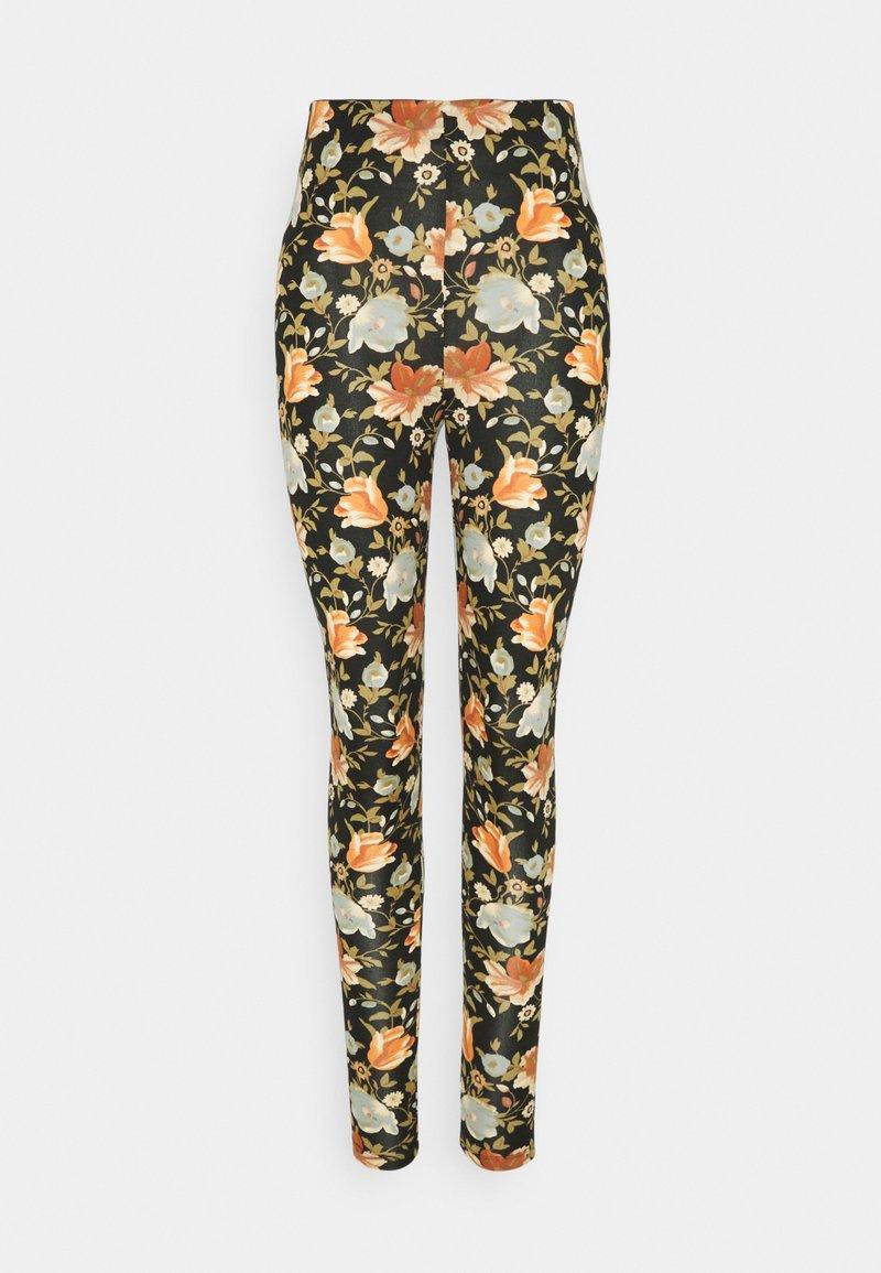 Vila - VIBE PRINT - Leggings - Trousers - black/pink/blue