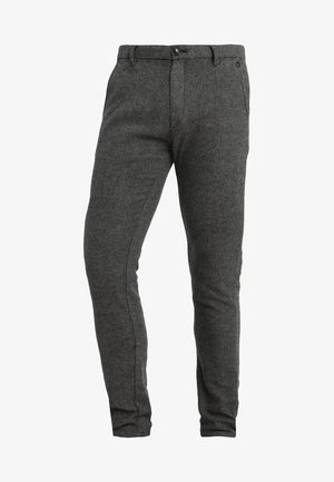 SLIM ARVA HOUNDSTOOTH PANTS - Trousers - grey