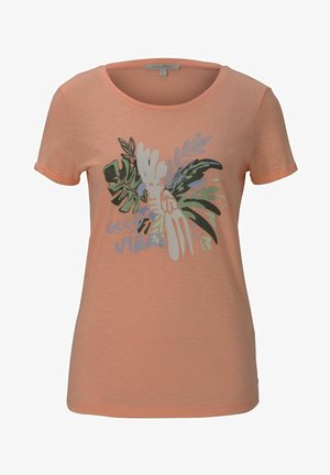 MIT BRUSTPRINT - Print T-shirt - papaya neon orange