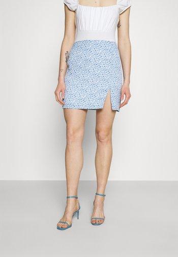 PAMELA REIF X ZALANDO FRONT SLIT RECYCLED MINI SKIRT - Minifalda - blue