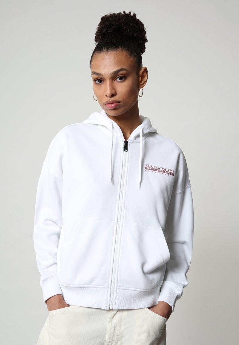 Napapijri - BILEA  - Zip-up hoodie - bright white