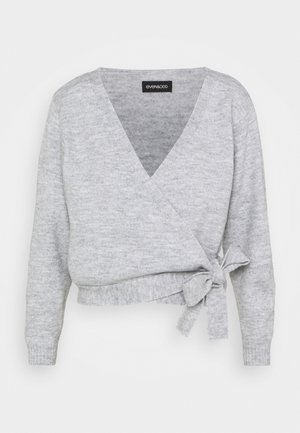 WRAP CARDIGAN - Kardigan - mottled light grey