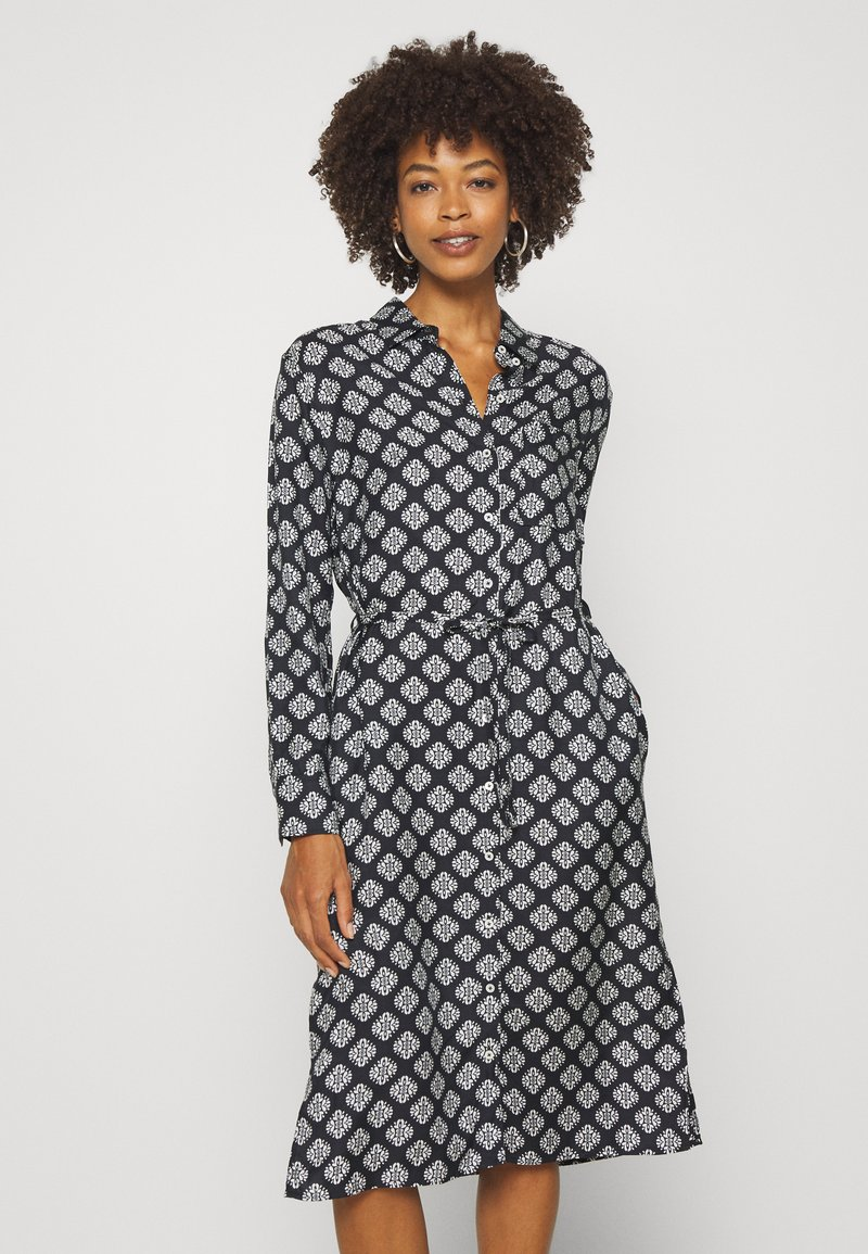 Marc O'Polo - DRESS STYLE BREAST POCKET SMALL BELT PRINTED - Shirt dress - black