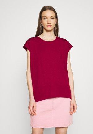 NMMATHILDE LOOSE LONG - T-shirt basic - rhubarb
