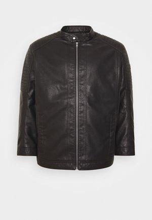 BIKER JACKET - Imitatieleren jas - black