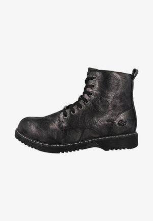 Lace-up ankle boots - black-silver