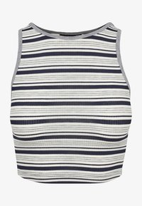 Urban Classics - LADIES RIB STRIPE CROPPED - Top - navy/white/grey - 1