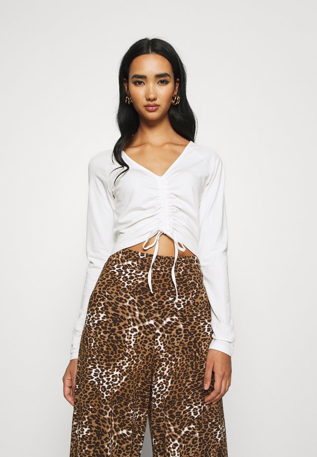 CROPPED TIE - Long sleeved top - white