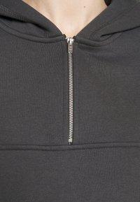 NU-IN - ELASTICATED HEM HALF ZIP HOODIE - Sweatshirt - dark grey - 6