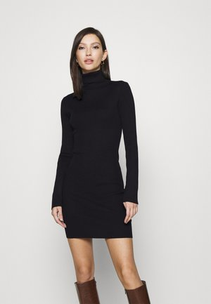 ROLL NECK MINI DRESS - Strikket kjole - black