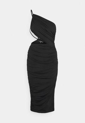ONE SHOULDER RUCHED CUT OUT MIDI DRESS - Robe de soirée - black