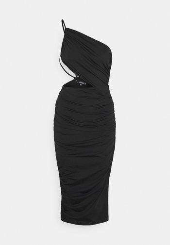ONE SHOULDER RUCHED CUT OUT MIDI DRESS - Sukienka koktajlowa - black