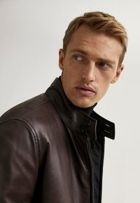 Massimo Dutti - Faux leather jacket - brown - 4