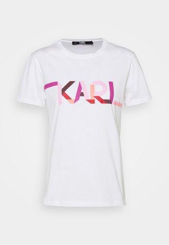 STRIPE LOGO - Print T-shirt - white