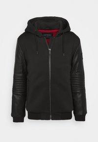 TECHNICAL HOODIE BOM - Faux leather jacket - jet black