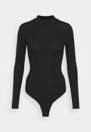 EXTREME HIGH NECK BODY - Long sleeved top - black