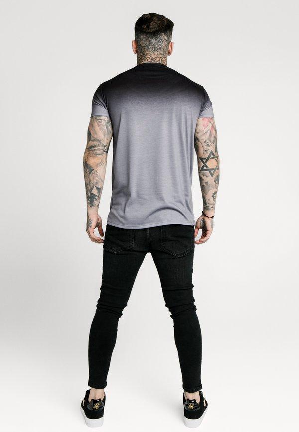 SIKSILK HIGH FADE TEE - T-shirt z nadrukiem - black/grey/czarny Odzież Męska MMEK