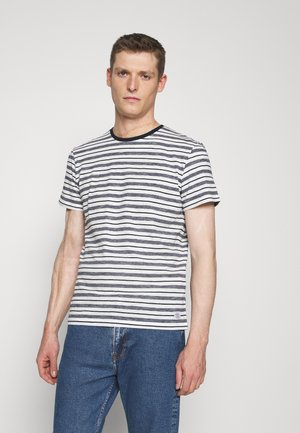 STRIPED  - Print T-shirt - offwhite/navy