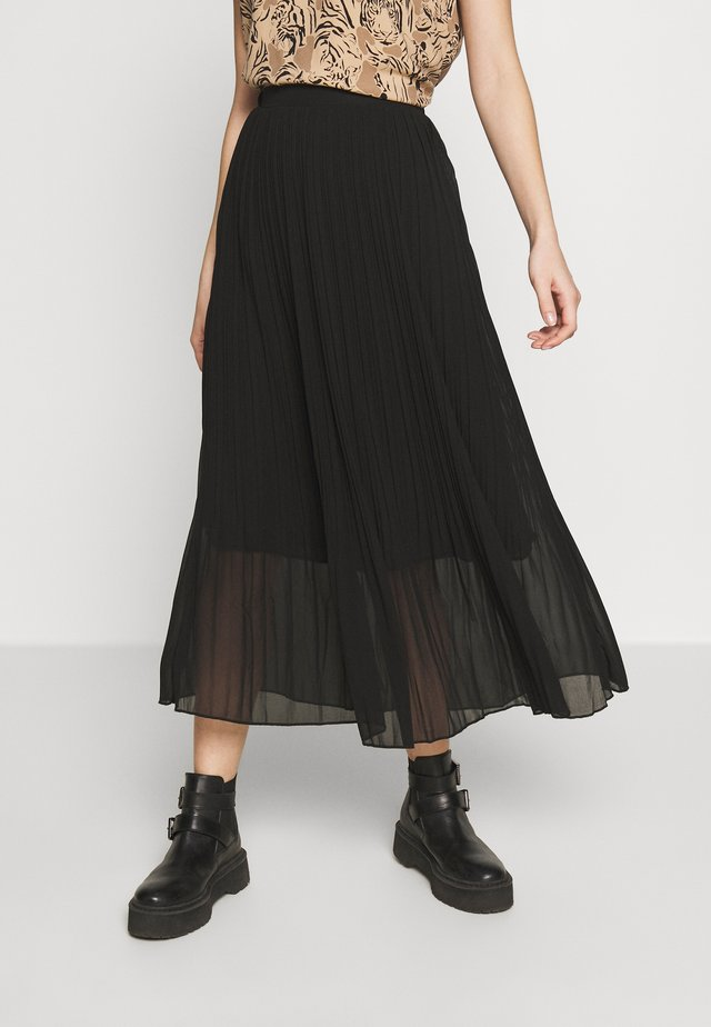 PLEATED - Jupe trapèze - black