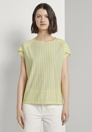 RELAXED STRIPED TEE - Print T-shirt - yellow white vertical stripe