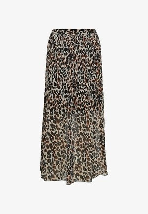 Pleated skirt - white black leopard  print