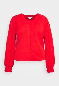 Lost Ink Plus - NECK BUTTON FRONT BLOUSE - Blůza - red - 3