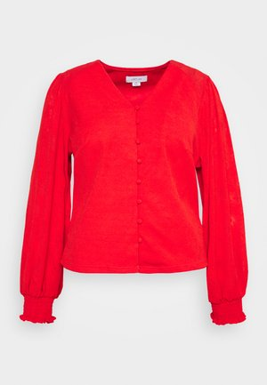 NECK BUTTON FRONT BLOUSE - Blůza - red