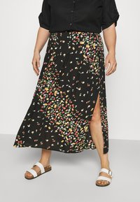 Simply Be - SKIRT WITH SIDE SPLIT - A-line skirt - black fruit print - 3