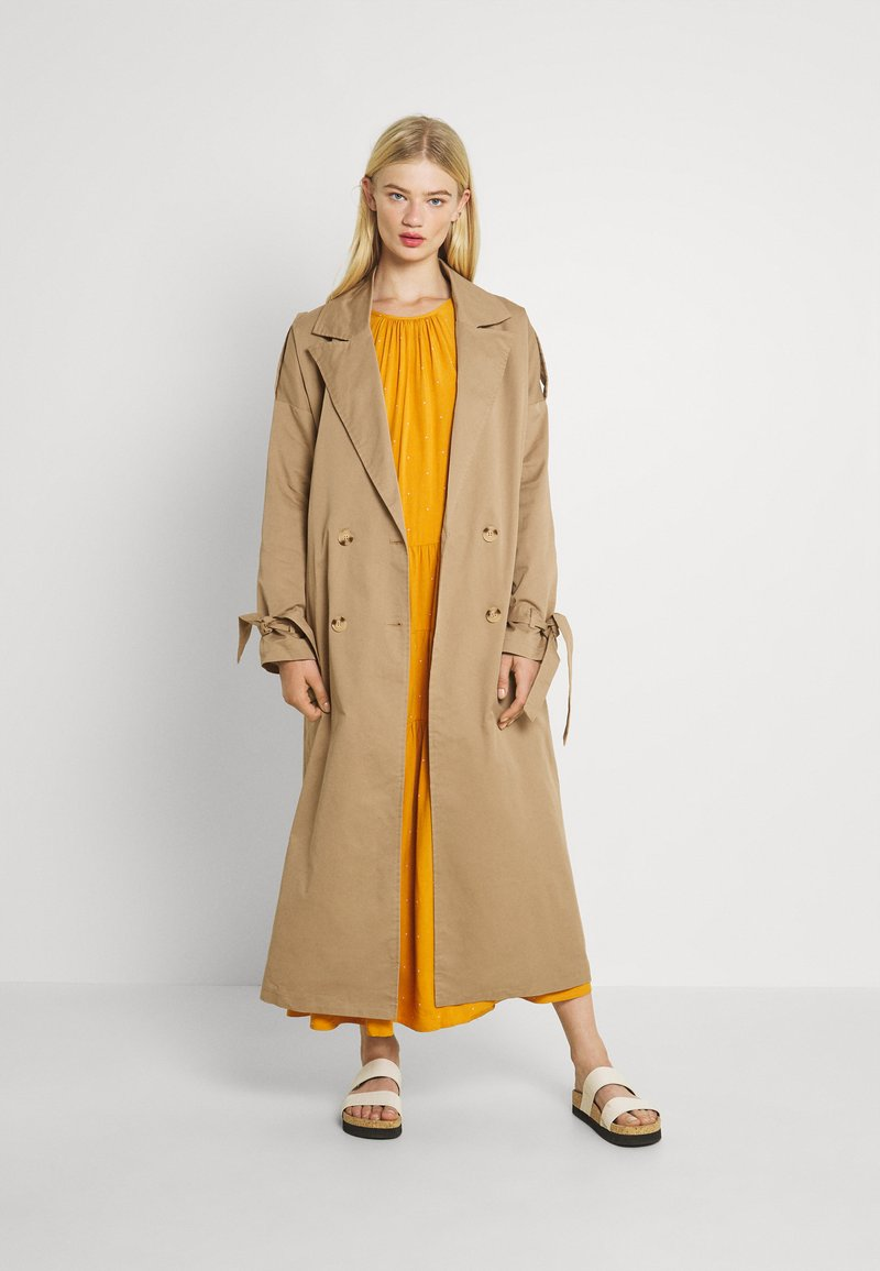 Missguided - TIE SLEEVE DOUBLE BREASTED  - Trenchcoat - camel