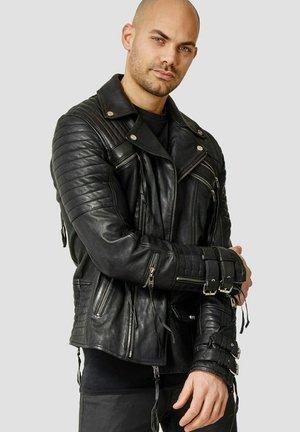 JACKSON - Leather jacket - black