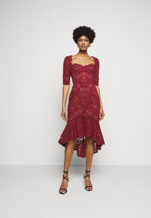 SLEEVE DAMASK DRESS - Cocktailjurk - bordeaux