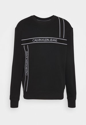 LOGO TAPE FASHION CREW NECK - Mikina - black