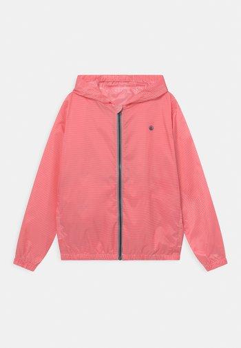 MAISE STRIPE HOODED - Waterproof jacket - groseiller/marshmallow