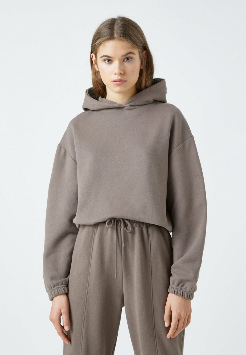 PULL&BEAR - Sweat à capuche - dark brown