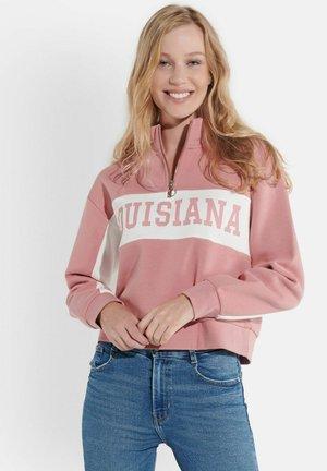 MIT STEHKRAGEN UND PRINT - Sweatshirt - rosa